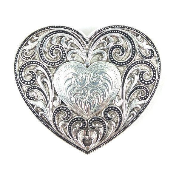 Fivela Formato de Coração com Estampa Floral Feminina