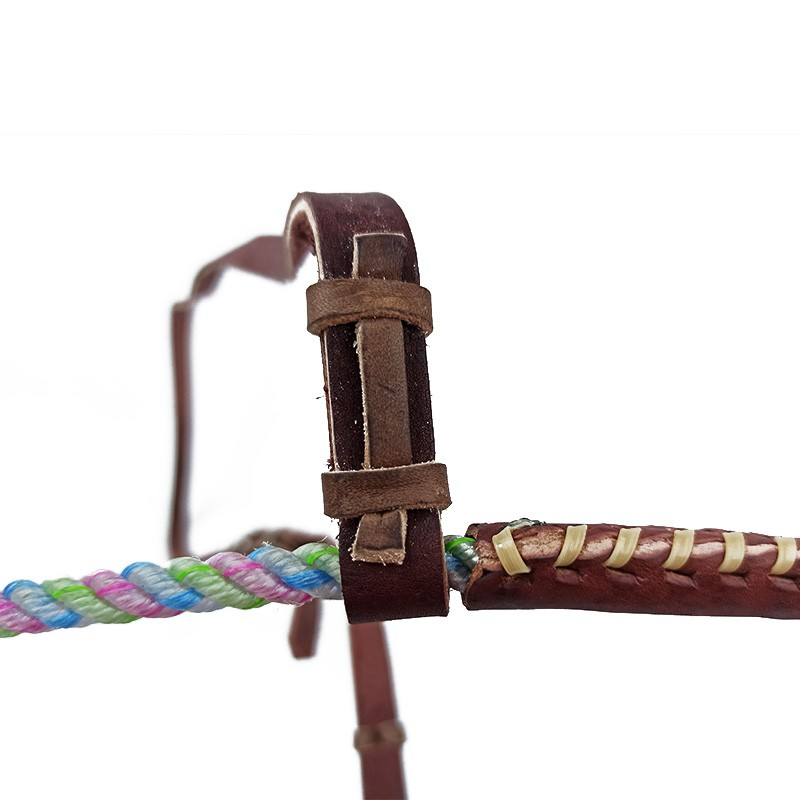 Gamarra Cavalo Top Equine Corda Fina Colorida Detalhe Couro