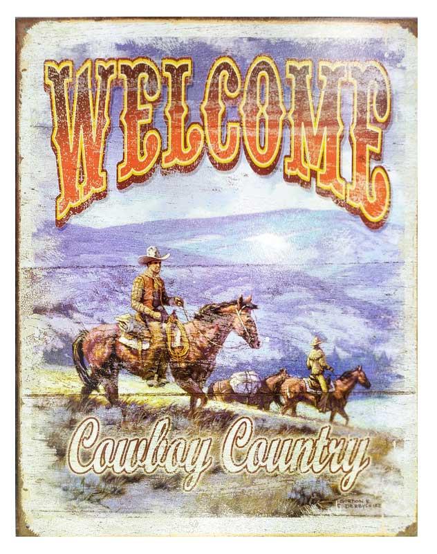 Placa em Metal para Decoração Western 'Welcome'