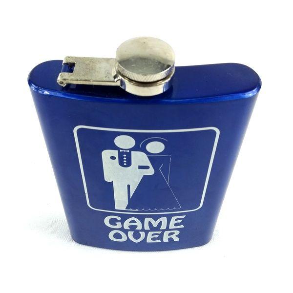 Pocket Drink Western de Metal Azul Game Over Importado
