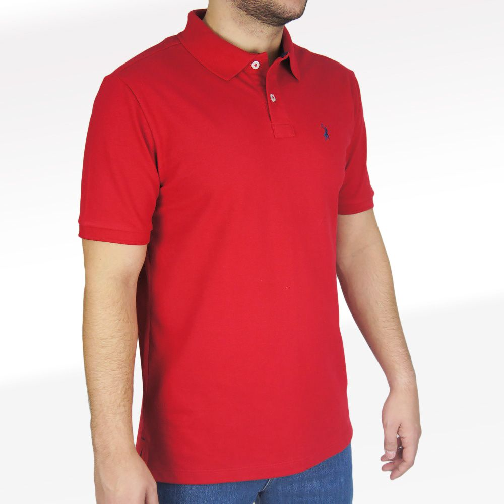 Polo Lisa Masculina Austin Western Original Shirts Vermelho
