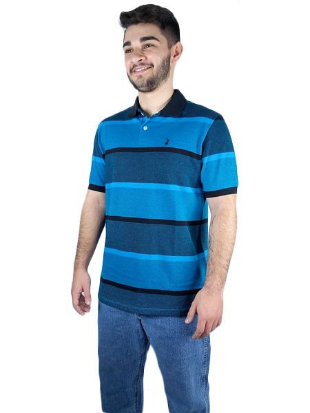 Polo Masculina Austin Western Original Shirts Azul Preto