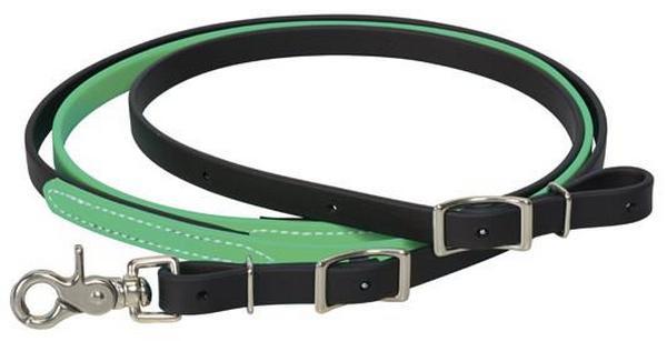 Rédea Weaver Leather para Cavalo de Borracha Verde Preto com Mosquetão