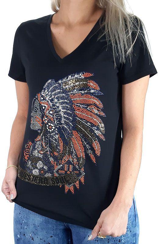 T Shirt Tassa Feminina Clássica Preta com Desenho em Strass