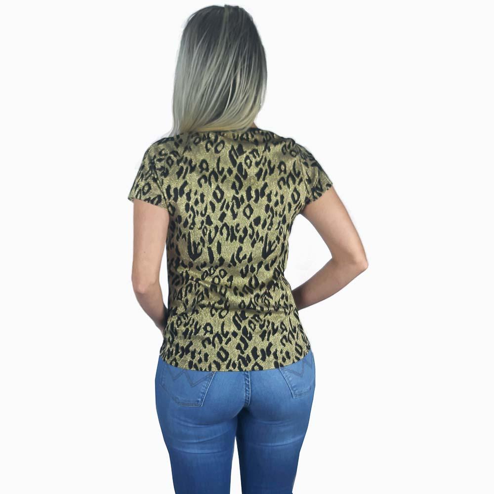 T Shirt Zenz Western Kenny com Estampa de Onça e Brilhos