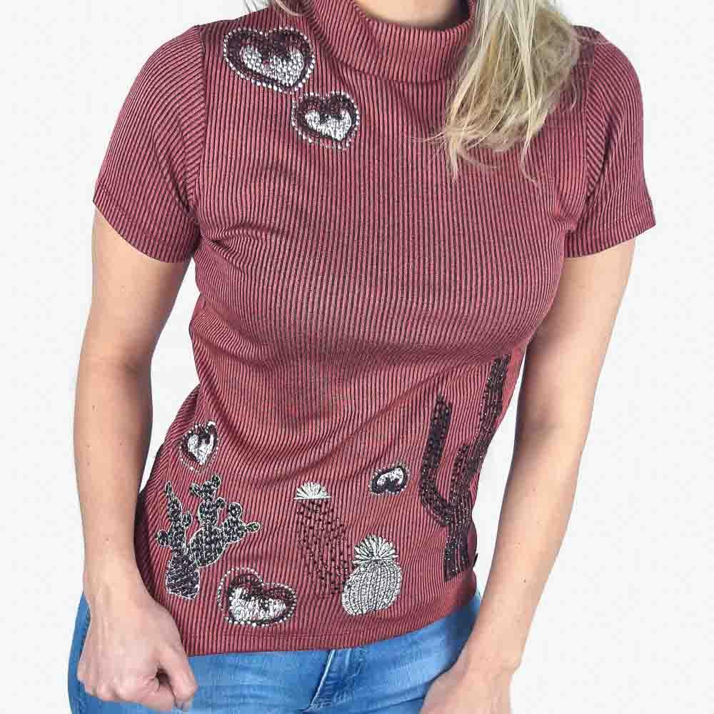 T Shirt Zenz Western Kind com Strass e Costura em Alto Relevo
