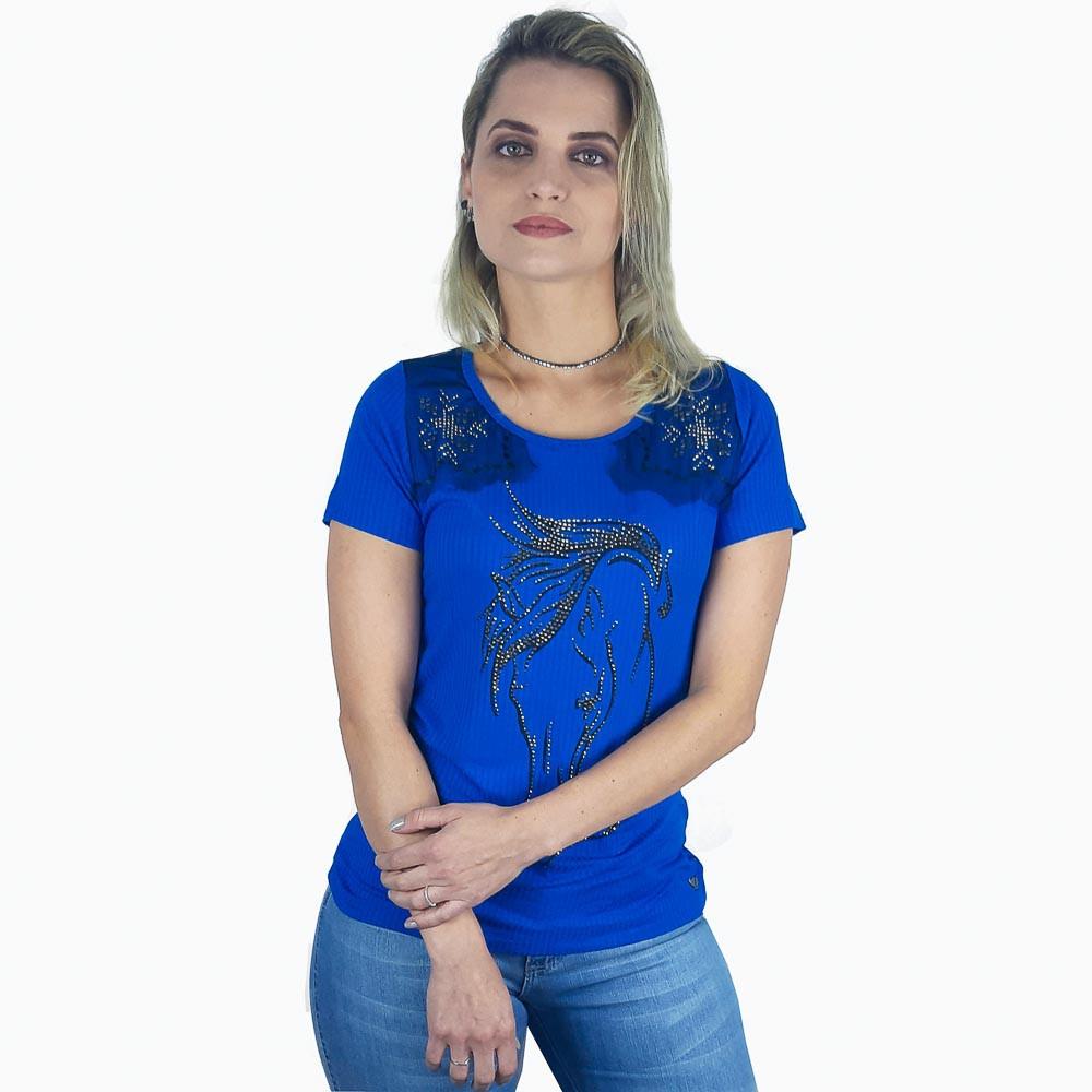 T Shirt Zenz Western Love of Life com Pedras de Strass e Tule
