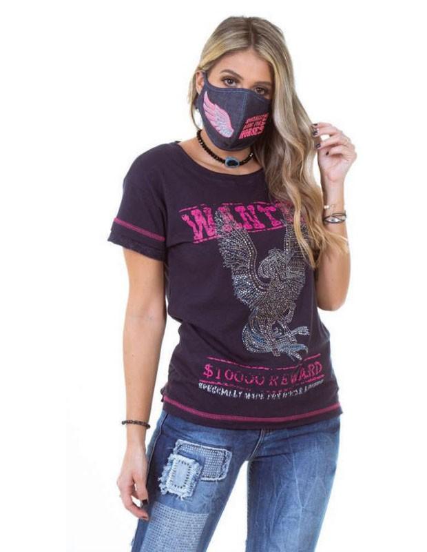 T Shirt Zenz Western Reward com Estampa Emborrachada e Strass