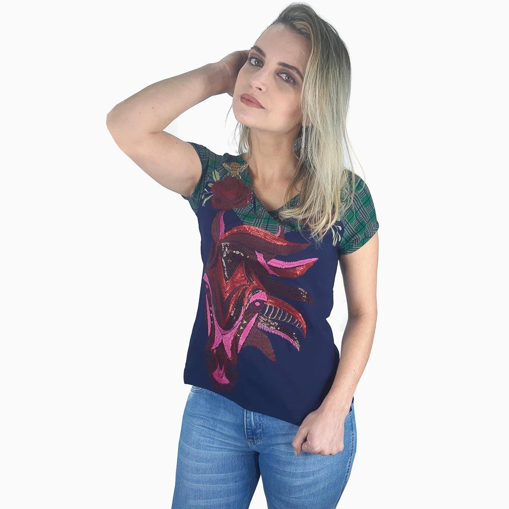 T Shirt Zenz Western Taylor com Bordado de Cavalo em Alto Relevo