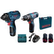 Kit Parafusadeira + Chave de Impacto 12 V com Maleta e 23 Acessórios Bosch Bivolt