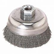 Escova Copo de Aço Inox Ondulada 3 Pol. Rosca R14mm - Abrasfer