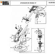 VISTA EXPLODIDA PEÇAS P/ APARADOR DE GRAMA BLACK & DECKER GL400 B2 TIPO 1 - 220V