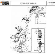 VISTA EXPLODIDA PEÇAS P/ APARADOR DE GRAMA BLACK & DECKER GL400 BR TIPO 1 - 110V