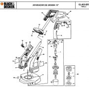 VISTA EXPLODIDA PEÇAS P/ APARADOR DE GRAMA BLACK & DECKER GL400 BR TIPO 2 - 110V