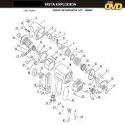 VISTA EXPLODIDA PEÇAS P/ CHAVE DE IMPACTO AWT CI850 CIV850 - 220V