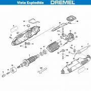 VISTA EXPLODIDA PEÇAS P/ DREMEL MICRO RETIFICA 4000 - F013400002 - 220V