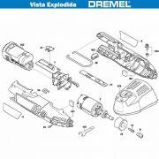 VISTA EXPLODIDA PEÇAS P/ DREMEL MICRO RETIFICA À BATERIA 8220 - F013822002- 12V - 110V 220V