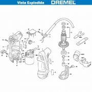 VISTA EXPLODIDA PEÇAS P/ DREMEL SERRA DE BROCA 9050 - F013905002 - 110V