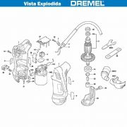 VISTA EXPLODIDA PEÇAS P/ DREMEL SERRA DE BROCA 9050 - F013905050 - 220V