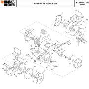 VISTA EXPLODIDA PEÇAS P/ ESMERIL DE BANCADA BT3600 B2 TIPO 1 - 220V