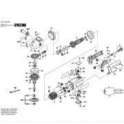 VISTA EXPLODIDA PEÇAS P/ ESMERILHADEIRA BOSCH GWS 12 U - 0601323012 - 110V