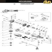 VISTA EXPLODIDA PEÇAS P/ ESMERILHADEIRA DWT EAD754 - 110V 220V
