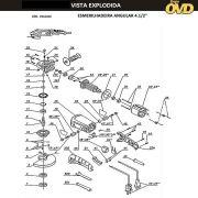 VISTA EXPLODIDA PEÇAS P/ ESMERILHADEIRA DWT WS10115T - 110V 220V