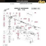 VISTA EXPLODIDA PEÇAS P/ ESMERILHADEIRA DWT WS115 - 110V 220V