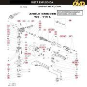 VISTA EXPLODIDA PEÇAS P/ ESMERILHADEIRA DWT WS115L - 110V 220V