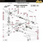 VISTA EXPLODIDA PEÇAS P/ ESMERILHADEIRA DWT WS115S - 110V 220V