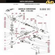 VISTA EXPLODIDA PEÇAS P/ ESMERILHADEIRA DWT WS115SV - 110V 220V