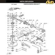 VISTA EXPLODIDA PEÇAS P/ ESMERILHADEIRA DWT WS18180T - 110V 220V