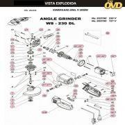 VISTA EXPLODIDA PEÇAS P/ ESMERILHADEIRA DWT WS230DL - 110V 220V