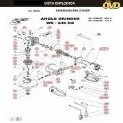 VISTA EXPLODIDA PEÇAS P/ ESMERILHADEIRA DWT WS230DS - 110V 220V