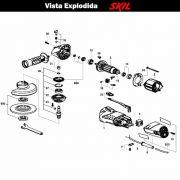 VISTA EXPLODIDA PEÇAS P/ ESMERILHADEIRA SKIL 9002 - F012900201 - 127 V