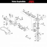 VISTA EXPLODIDA PEÇAS P/ ESMERILHADEIRA SKIL 9006 - F012900601 - 127 V