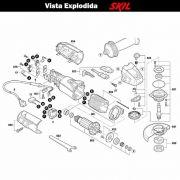 VISTA EXPLODIDA PEÇAS P/ ESMERILHADEIRA SKIL 9455 - F012945502 - 220 V
