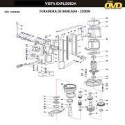 VISTA EXPLODIDA PEÇAS P/ FURADEIRA C/ BASE MAGNÉTICA AWT 935853 MD2200 - 380V