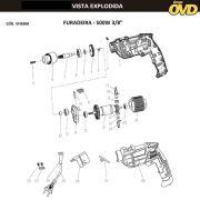 VISTA EXPLODIDA PEÇAS P/ FURADEIRA DE IMPACTO AWT FIA500 FIV538 - 110V 220V