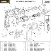 VISTA EXPLODIDA PEÇAS P/ FURADEIRA DE IMPACTO DEWALT DW508K BR B2 TIPO 1 2 3 - 110V 220V