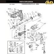 VISTA EXPLODIDA PEÇAS P/ FURADEIRA DE IMPACTO DWT SBM500 - 110V 220V