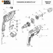 VISTA EXPLODIDA PEÇAS P/ FURADEIRA DE IMPACTO TM500 B2 TIPO 10 - 220V
