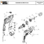 VISTA EXPLODIDA PEÇAS P/ FURADEIRA DE IMPACTO TM500 BR TIPO 10 - 110V