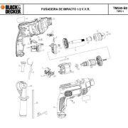 VISTA EXPLODIDA PEÇAS P/ FURADEIRA DE IMPACTO TM550 B2 TIPO 1 - 220V