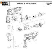 VISTA EXPLODIDA PEÇAS P/ FURADEIRA DE IMPACTO TM550 BR TIPO 1 - 110V