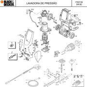 VISTA EXPLODIDA PEÇAS P/ LAVADORA DE ALTA PRESSÃO PW2100 BR B2 - 110V 220V