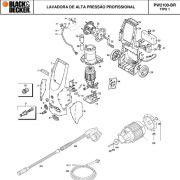 VISTA EXPLODIDA PEÇAS P/ LAVADORA DE ALTA PRESSÃO PW2100 BR TIPO 1 - 110V