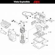 VISTA EXPLODIDA PEÇAS P/ LIXADEIRA SKIL 7314 - F012731400 - 127 V
