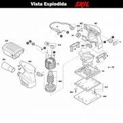 VISTA EXPLODIDA PEÇAS P/ LIXADEIRA SKIL 7314 - F012731402 - 220 V