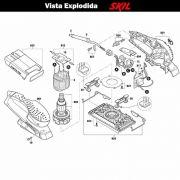 VISTA EXPLODIDA PEÇAS P/ LIXADEIRA SKIL 7366 - F012736601 - 127 V